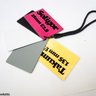Cards designed to help with tracking manual lens changeover