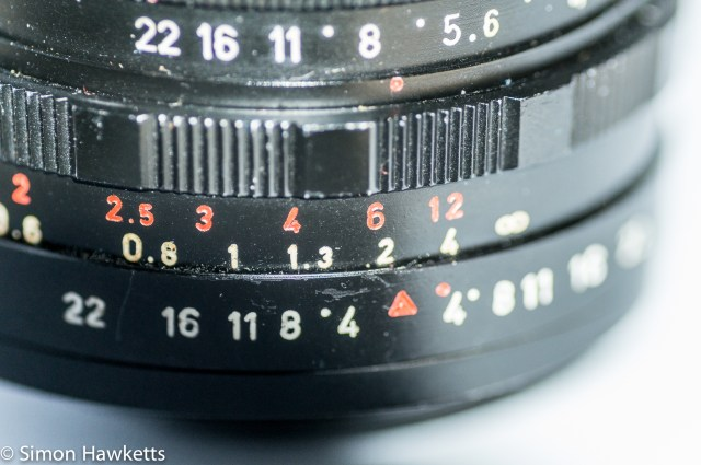 Pentacon 30mm f/3.5 Pre-set lens showing focus/depth of field scale