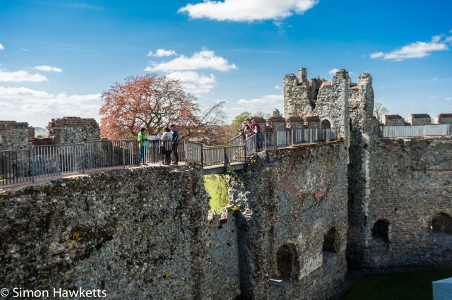 Pictures of Framlingham in Suffolk - Modern safety rails added to the battlements of Framlingham Castle