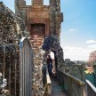 Pictures of Framlingham in Suffolk - People on the battlements of Framlingham Castle