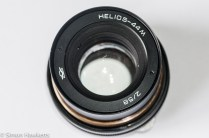 Helios 44M focus thread cleanup - lens unscrewing the name plate