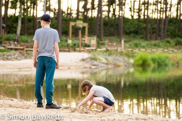 Pictures from Woburn Forest CenterParcs - Girl and Boy playing by the boating lake