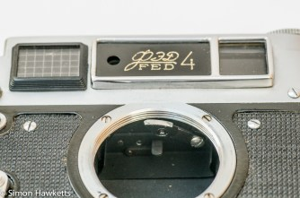 Fed 4 35mm rangefinder film camera showing rangefinder actuation lever