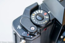 Mamiya ZM Quartz 35mm slr camera showing on/off switch and film advance
