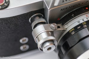 Miranda Dr 35mm SLR showing lens PAD lever