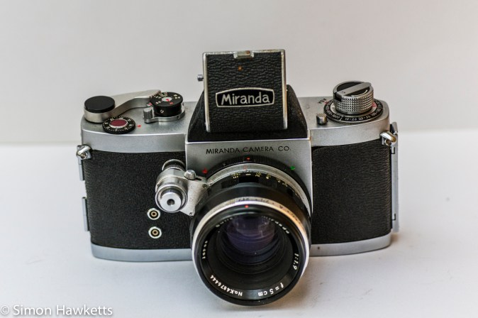 Miranda Dr 35mm SLR showing waist level finder fitted
