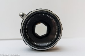 Miranda Sensorex 35mm slr camera showing front of lens