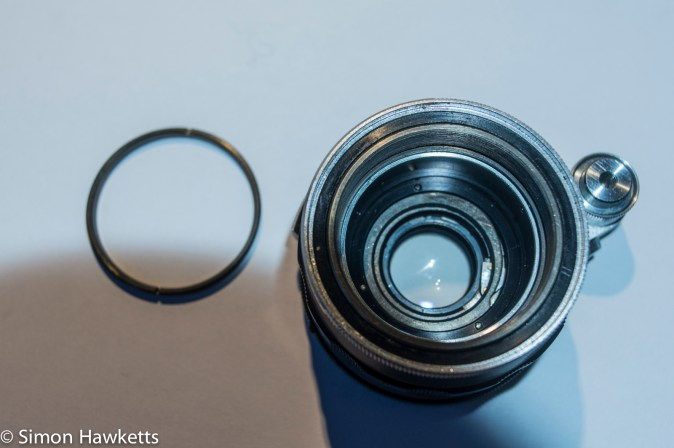 Miranda 50mm PAD lens strip down - ring under front element removed