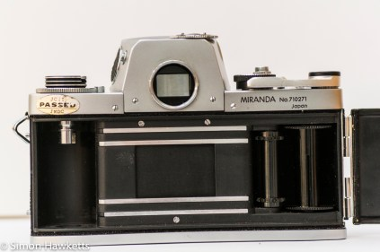 Miranda Fm 35mm slr camera showing film chamber