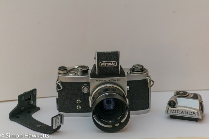 Miranda Fm 35mm slr camera showing waist finder, flash bracket and metered viewfinder