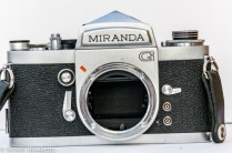 Miranda G 35mm slr camera showing mirror lockup with mirror up