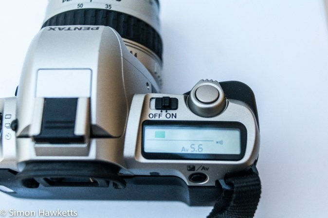 Pentax MZ-50 auto focus 35mm slr showing top LCD and on/off switch