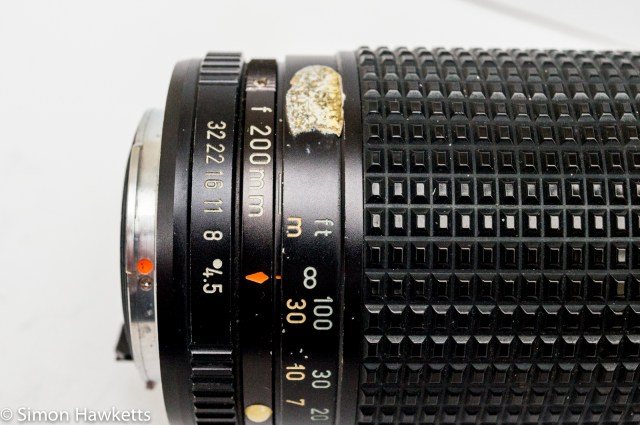 Pentax-M SMC 80-200mm f/4.5 zoom lens showing aperture and focus scales