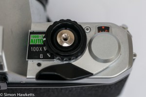 Pentax MG 35mm slr showing frame advance, shutter and frame counter
