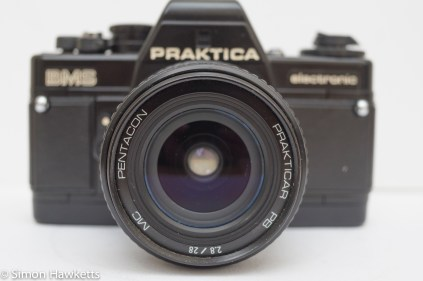 Praktica BMS 35mm SLR showing the 28mm f/2.8 wide angle lens