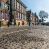 Cobbled streets in York by the river