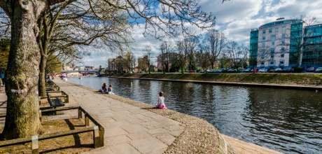 Sitting by the river Ouse in York
