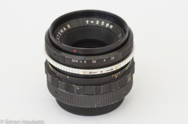 Optomax 35mm f/3.5 with pre-set aperture