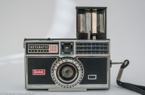 Kodak Instamatic 300 126 film camera showing flash open