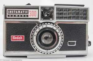Kodak Instamatic 300 126 film camera showing light cell and flash pop-up lever