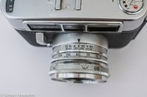 Voigtlander Dynamatic II 35mm rangefinder camera showing aperture scale on lens