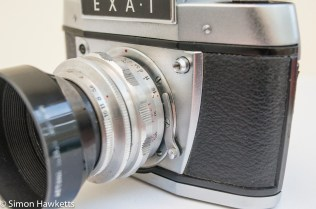 Exakta EXA 1 35mm SLR showing exakta mount release