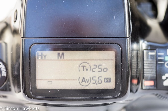 Pentax Z-1 35mm autofocus slr showing LCD in Hyper Manual mode