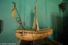A wooden model of a ship in Snowshill Manor