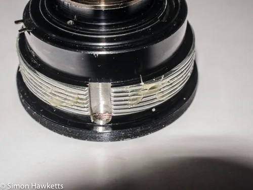 Kowa SE 35mm slr strip down - adding clean grease to helicoid