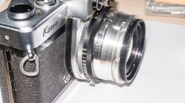 Kowa SE 35mm slr strip down - lens reassembled to the body