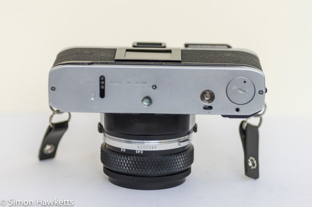 Olympus OM-20 35mm SLR - Bottom of camera showing motor drive connections
