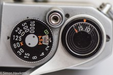 Pentax Spotmatic SP showing shutter and film speed settings