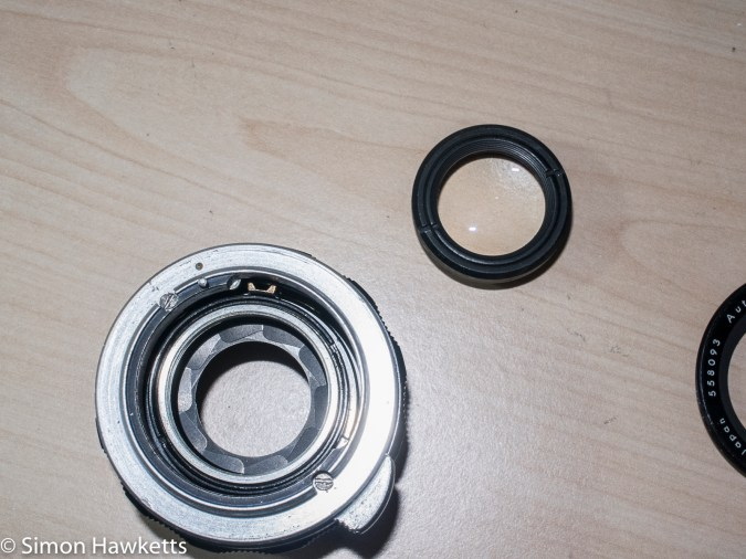 Auto Takumar 55mm f/2.2 strip down - Rear optical element group removed