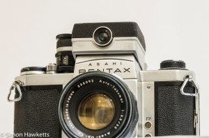 Pentax S1 35mm slr with clip on exposure meter - front view