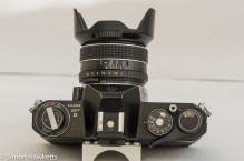 Pentax Spotmatic SPII top view showing control layout