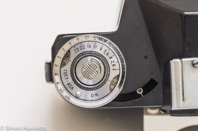 The uncoupled light meter on the Zenit E 35mm slr