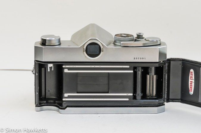 Konica Autoreflex T2 35mm slr back view with film chamber open