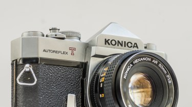 Konica Autoreflex T2 35mm slr fitted with Konica Hexanon AR 50mm f/1.8 lens
