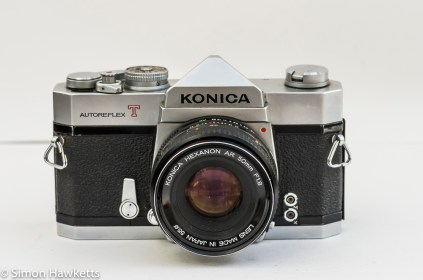 Konica Autoreflex T2 35mm slr front view with Hexanon lens fitted