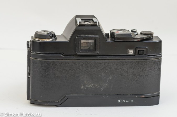Konica Autoreflex TC rear view showing on/off switch