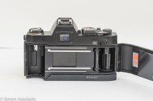Konica Autoreflex TC rear view with door open showing film chamber