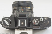 Konica Autoreflex TC top view showing control layout