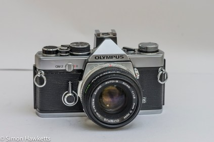 Olympus OM-2 35mm slr - front view with Zuiko Auto-S 50mm f/1.8 lens fitted