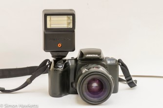 Pentax Z-20 with Pentax AF200s external flash fitted