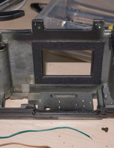 Ricoh singlex TLS strip down and repair - the camera body with front and shutter removed