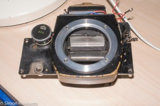 Ricoh singlex TLS strip down and repair - the front of the camera removed from the camera body