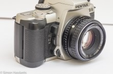 Side view of Pentax MZ-3 showing the AF selector, depth of field preview and lens release