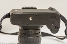 Tripod mount and battery compartment on the Pentax Z-20