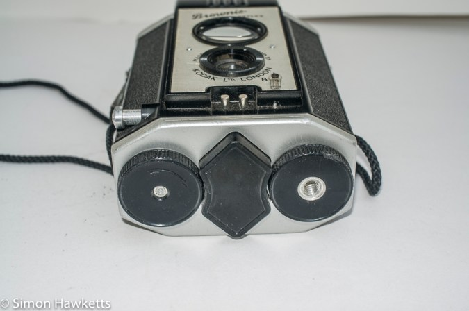 Kodak Brownie Reflex camera - bottom view showing film advance knob