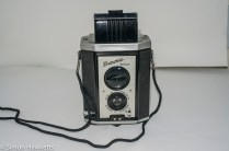 Kodak Brownie Reflex camera with viewscreen unfolded